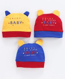 Simply Round Caps Baby Print Pack of 3 - Blue Red Yellow