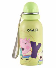 Youp Stainless Steel Water Bottle Peppa Pig Print Green - 500 ml