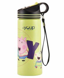 Youp Stainless Steel Water Bottle Peppa Pig Print Green- 750 ml