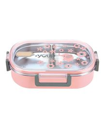 Youp Stainless Steel Lunch Box With Spoon - Pink