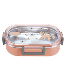 Youp Stainless Steel Lunch Box With Spoon - Peach