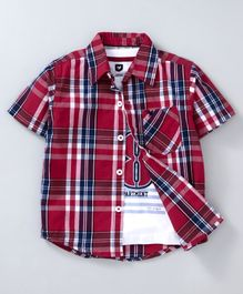 612 League Checkered Half Sleeves Shirt With Tee Set - Red