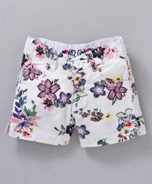 612 League Flower Printed Front Pocket Shorts - White