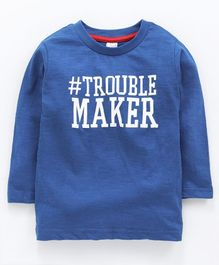 Pink Rabbit Full Sleeves Single Jersey Tee Trouble Maker Print - Blue