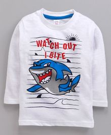Pink Rabbit Single Jersey Full Sleeves Tee Whale Print - White