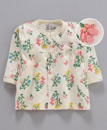 Pink Rabbit Full Sleeves Nighty Floral & Butterfly Print - Light Yellow