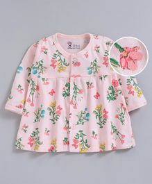 Pink Rabbit Full Sleeves Nighty Floral & Butterfly Print - Peach
