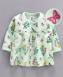 Pink Rabbit Full Sleeves Nighty Floral & Butterfly Print - Light Green