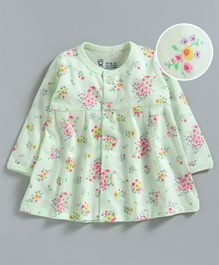Pink Rabbit Full Sleeves Nighty Floral Print - Green