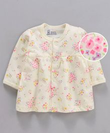Pink Rabbit Full Sleeves Nighty Floral Print - Light Yellow
