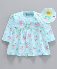Pink Rabbit Full Sleeves Nighty Floral Print - Blue