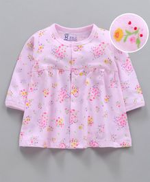 Pink Rabbit Full Sleeves Nighty Floral Print - Pink