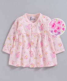 Pink Rabbit Full Sleeves Nighty Floral Print - Peach