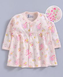 Pink Rabbit Full Sleeves Nighty Floral Print - Light Peach
