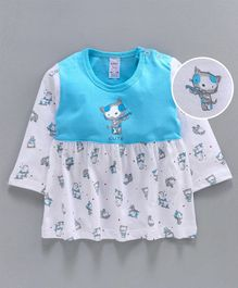 Pink Rabbit Full Sleeves Frock Kitty Print - White Blue