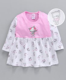 Pink Rabbit Full Sleeves Frock Kitty Print - White Pink