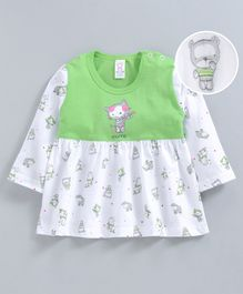 Pink Rabbit Full Sleeves Frock Kitty Print - White Green