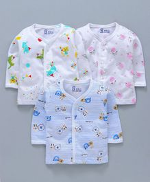 Pink Rabbit Full Sleeves Vests Multi Print Pack of 3 - White Blue Pink