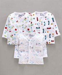 Pink Rabbit Full Sleeves Vests Fruit & Vehicle Print Pack of 3 - White