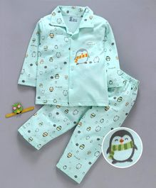 Pink Rabbit Full Sleeves Night Suit Penguin Print - Green
