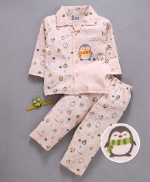 Pink Rabbit Full Sleeves Night Suit Penguin Print - Peach