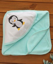 Babyhug Hooded Towel Bird Embroidered - Blue