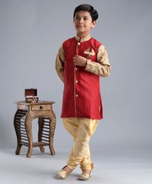 Ridokidz Full Sleeves Self Design Kurta With Pyjama - Red & Beige
