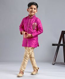 Ridokidz Leaves Self Print Full Sleeves Kurta & Pajama Set - Dark Pink