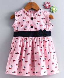 Dew Drops Sleeveless Frock Bows & Heart Print - Pink