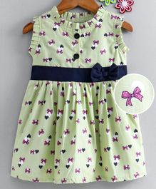Dew Drops Sleeveless Frock Bows & Heart Print - Green