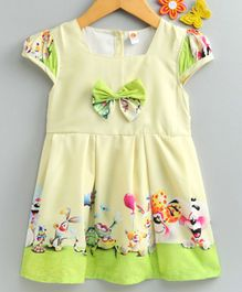 Dew Drops Cap Sleeves Graphic Printed Crepe Frock - Light Yellow