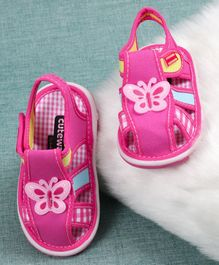 Cute Walk By Babyhug Sandals Butterfly Patch - Pink