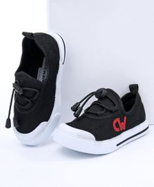 Cute Walk By Babyhug Casual Canvas Lace Up Shoes - Black