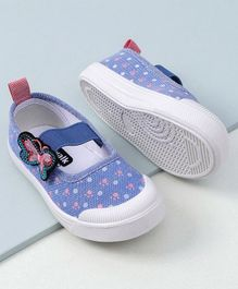 Cute Walk by Babyhug Canvas Shoes Butterfly Patch - Blue