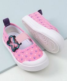 Cute Walk by Babyhug Canvas Shoes Butterfly Patch - Pink