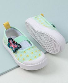 Cute Walk by Babyhug Canvas Shoes Butterfly Patch - Green