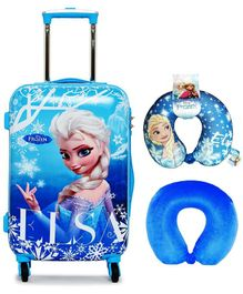 Gamme Disney Frozen Polycarbonate Trolley Luggage Bag With Neck Pillows - Blue