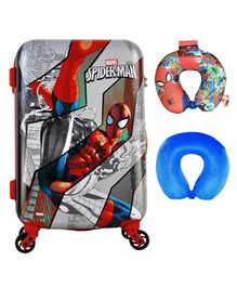 Gamme Marvel Spider Man Polycarbonate Trolley Luggage Bag With Neck Pillows - Grey