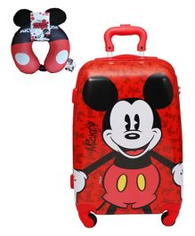 Gamme Disney Mickey Mouse Polycarbonate Trolley Luggage Bag With Neck Pillow - Red