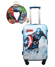 Gamme Marvel Captain America Polycarbonate Trolley Luggage Bag With Neck Pillow - Blue