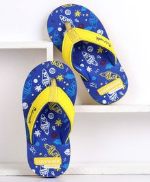 Cute Walk by Babyhug Flip Flops With Back Strap Rocket Print - Navy