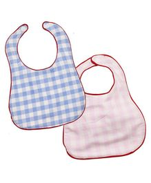 Kadambaby Check Bibs Pack of 2 - Blue Pink