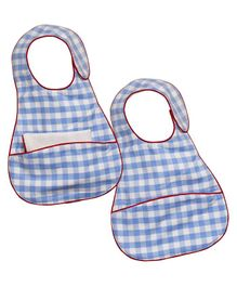 Kadambaby Check Bibs Pack of 2 - Blue