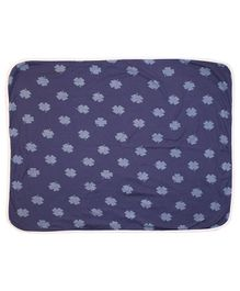 Kadambaby Cotton Blanket Floral Print - Blue