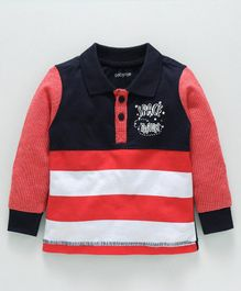 Babyoye Full Sleeves Striped Polo T-Shirt - Red