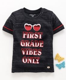 Stupid Cupid Half Sleeves First Grade Vibes Only Print Tee - Black