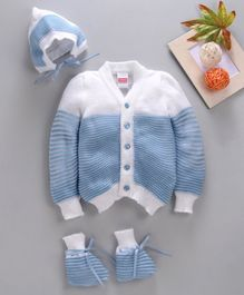 Babyhug Full Sleeves Sweater Set With Cap & Booties -Blue