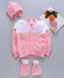 Babyhug Full Sleeves Sweater Set With Cap & Booties - Pink