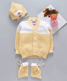 Babyhug Full Sleeves Sweater Set With Cap & Booties - Yellow