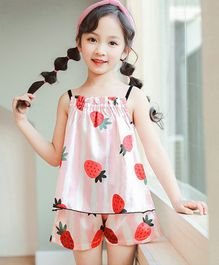 Pre Order - Awabox Strawberry Printed Sleeveless Night Suit - Pink